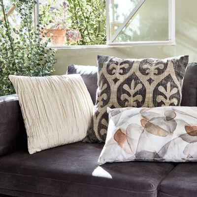 Coussin froissé en lin et coton - écru 40x40cm-ALEY