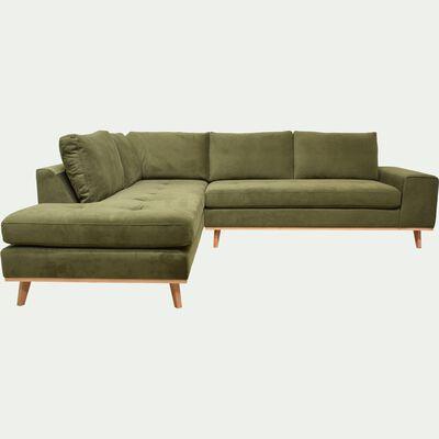 Canapé d'angle fixe gauche en velours - vert garrigue-PICABIA
