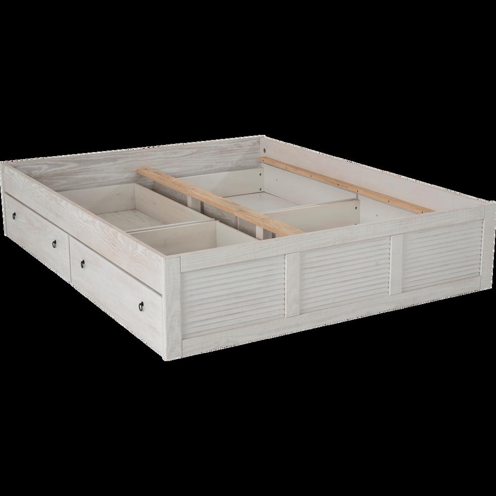 2 tiroirs de lit à roulettes blancs en pin massif - 2xL100 cm-JALOUSIE