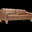 Canapé 3 places fixe en cuir marron albe-BALLETI