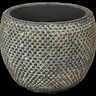 Cache-pot en céramique brossé gris et bleu H14xD18 cm-ANDIJAN