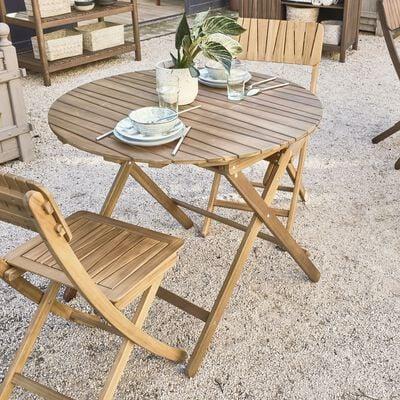 Table de jardin pliante en acacia huilée D90cm - naturel (2 à 4 places)-CARLO