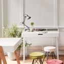 Bureau laqué blanc avec plateau ouvrant L100cm-RIMA