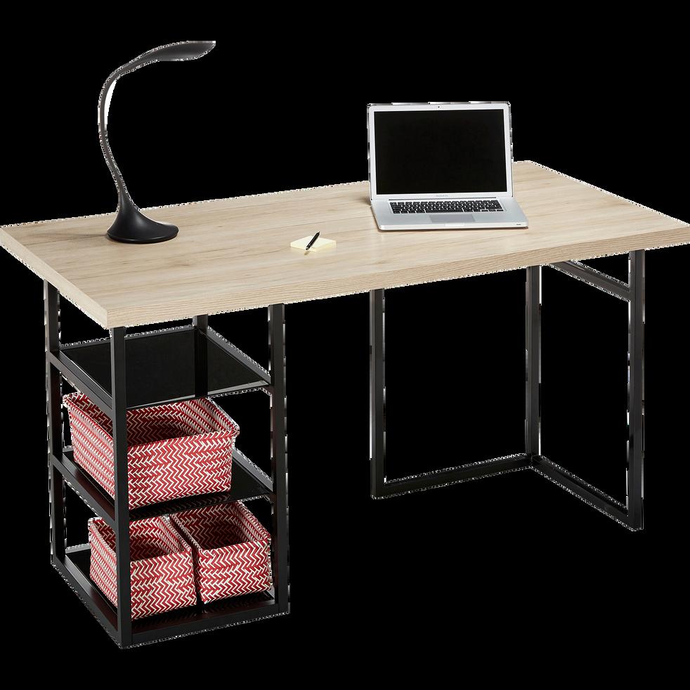 tr teau caisson de bureau noir avec 3 tablettes en verre. Black Bedroom Furniture Sets. Home Design Ideas