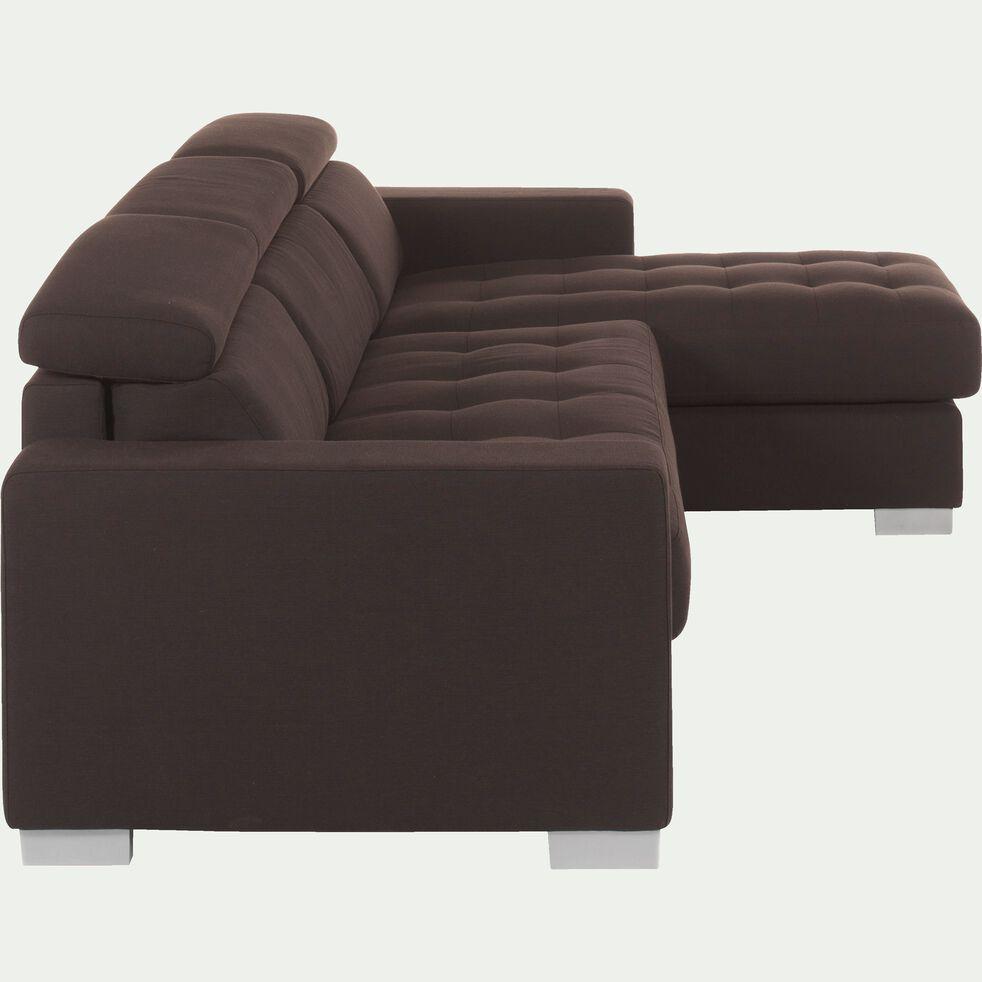Canapé d'angle réversible convertible en tissu marron-Mauro