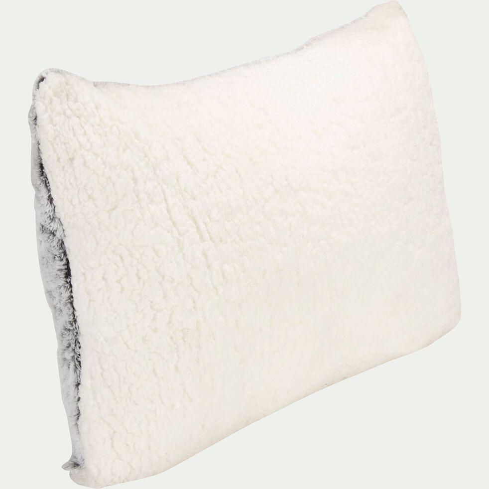 Coussin imitation fourrure en polyester - gris clair 40x60cm-Lalou