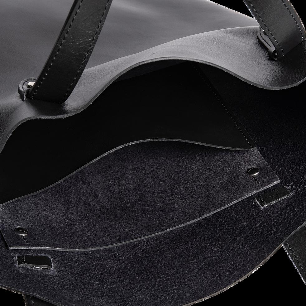 Tote bag en cuir noir H39x32,5cm-EUGENIE