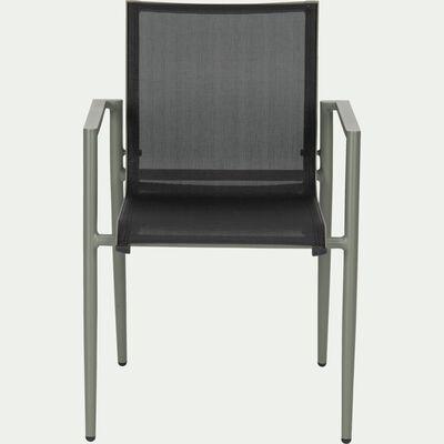 Chaise de jardin empilable en aluminium vert cèdre et noir-CLORIS