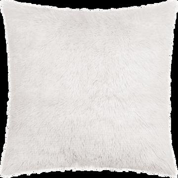 Housse de coussin carrée à poils longs blancs 40x40cm-ELEC