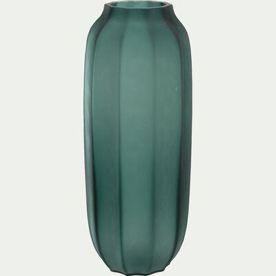 Vase long en verre vert h30,5cm-BACH