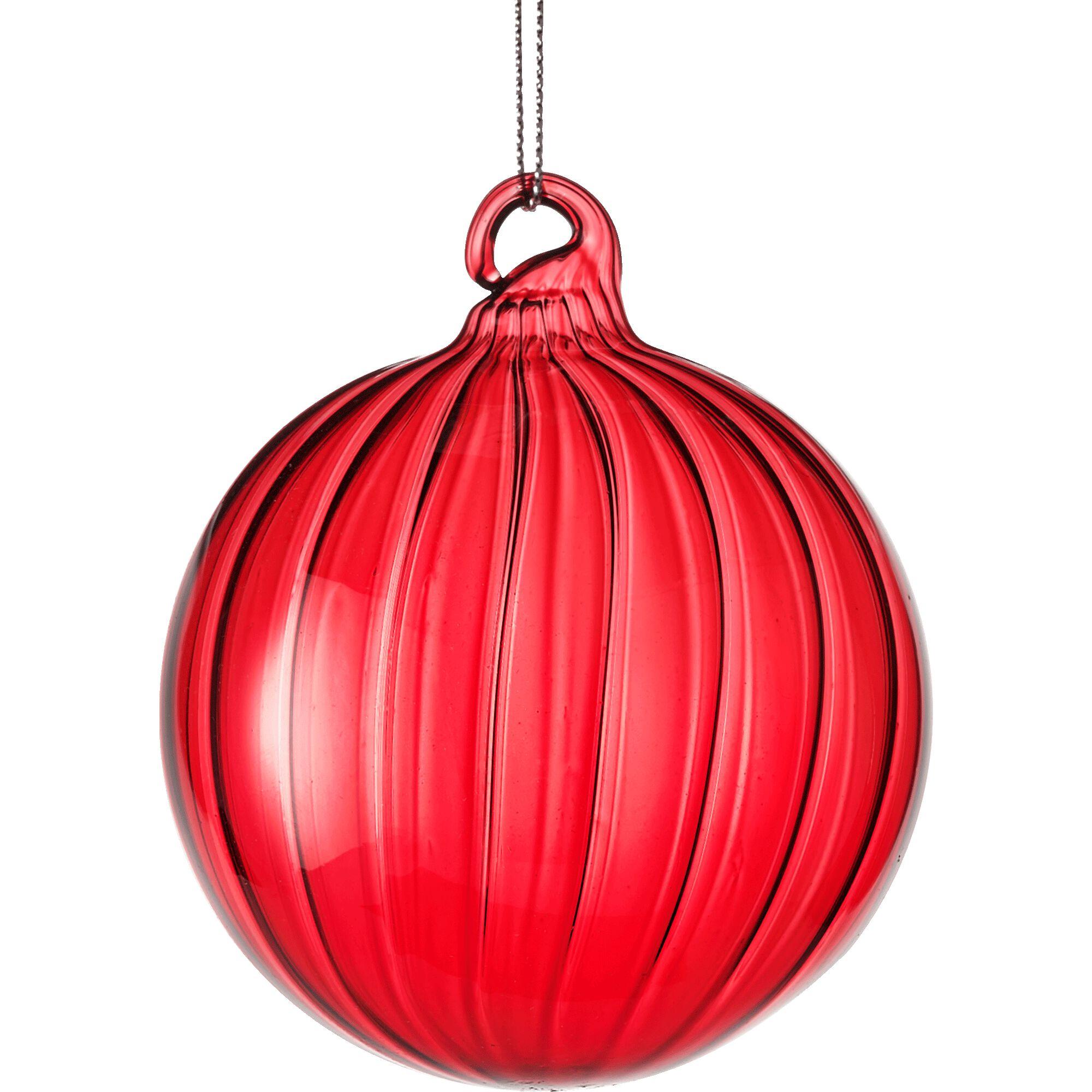 Boule de Noël en verre - rouge - D8cm-BIZO