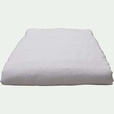 Drap plat en lin blanc capelan 270x300 cm-VENCE