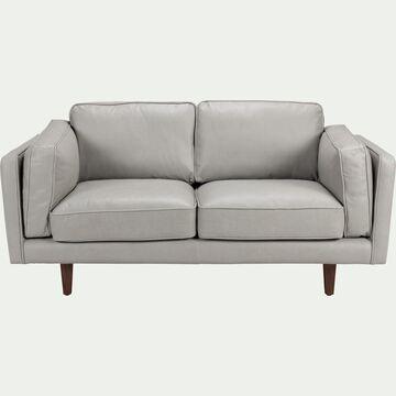 Canapé 2 places fixe en cuir de vachette - gris-BROOKLYN
