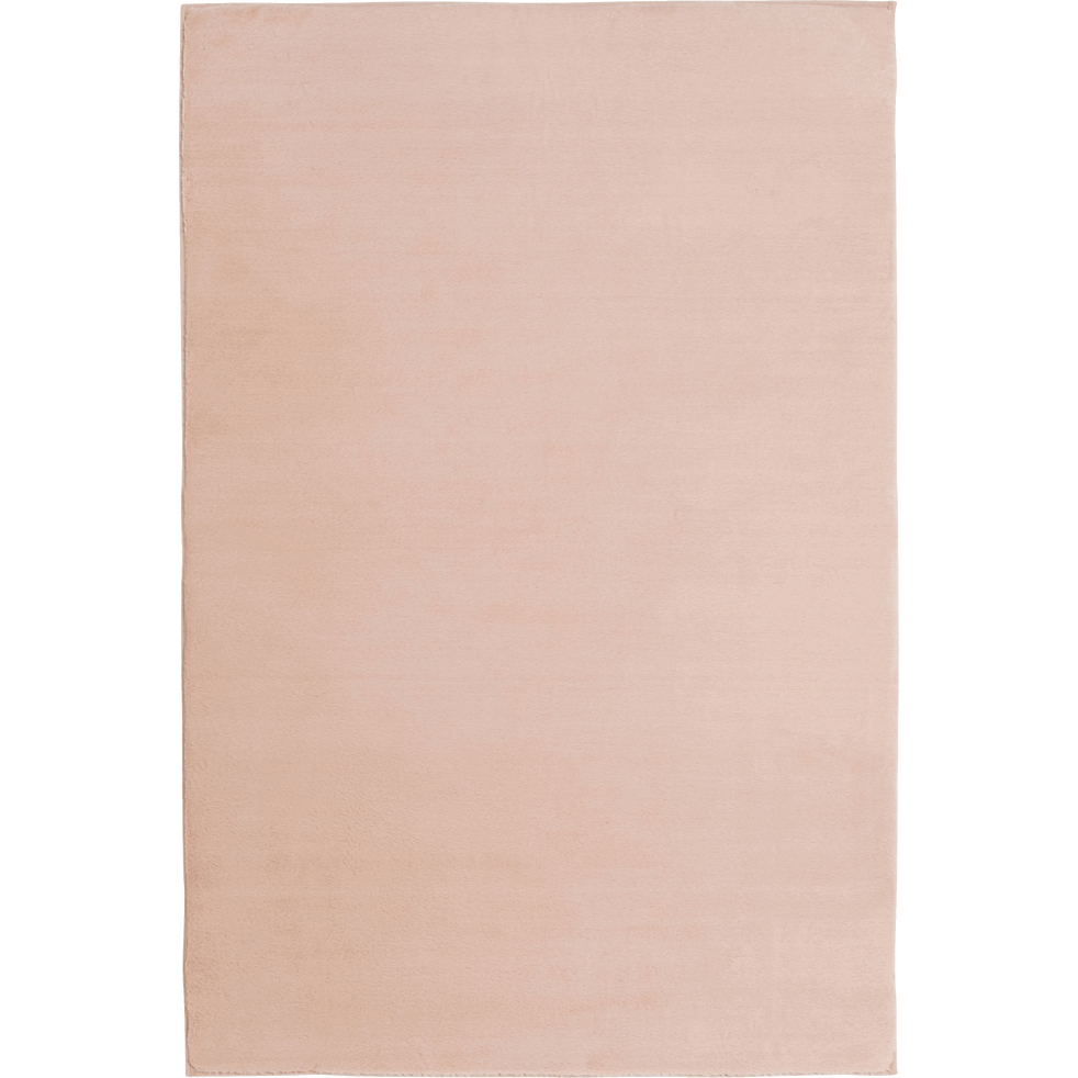 Tapis imitation fourrure rose argile-ROBIN
