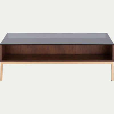 Table basse en verre et bois-ACACIA
