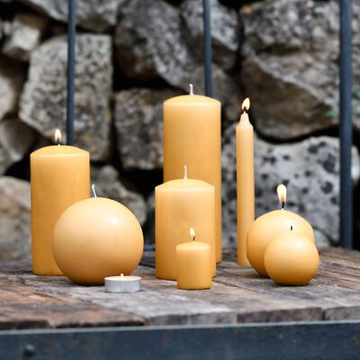 8 bougies flambeaux beige nèfle H18cm-HALBA