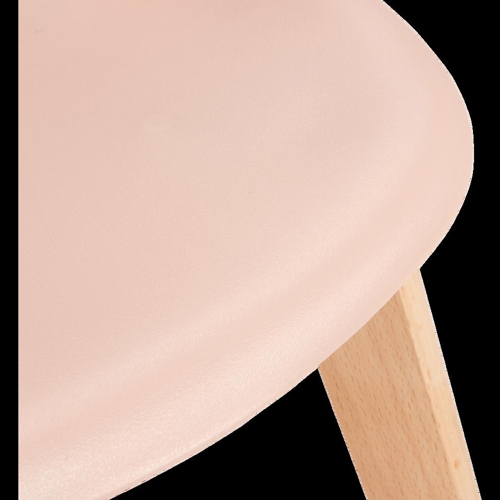 Chaise enfant assise plastique & pieds en hêtre - Sable rosé-NORA