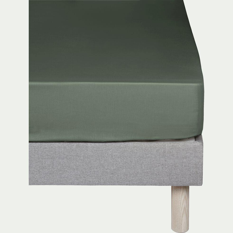 Drap housse en percale de coton - vert cèdre 140x200cm B25cm-FLORE