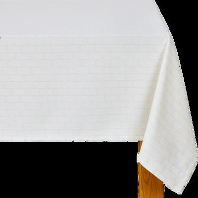 Nappe en coton blanc à motifs 140x250cm-PETER