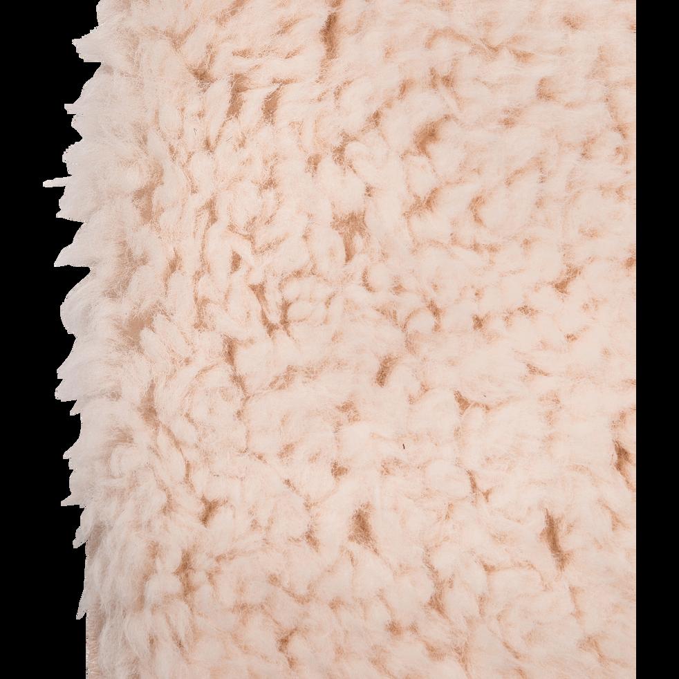 Tapis sherpa rond uni 100x133cm rose grège-AURORE