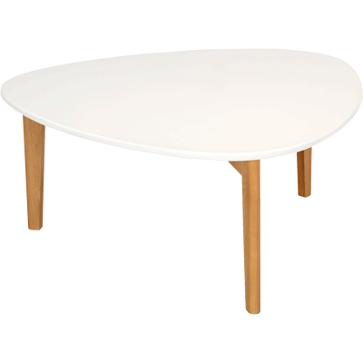 Table basse triangulaire blanche avec pieds en chêne-Siwa