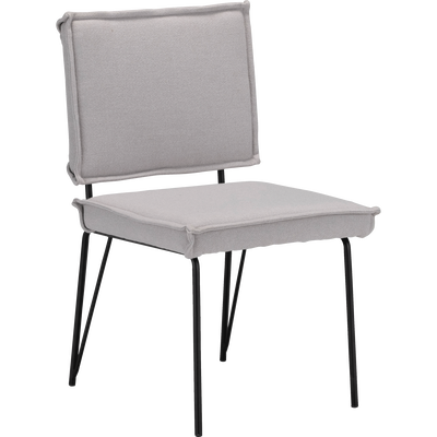 Chaise en tissu gris clair et métal noir-FLORINE