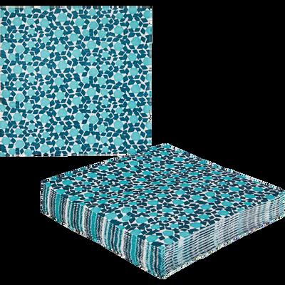 Lot de 20 serviettes intissé bleu à motifs 40x40cm-ZELLIGES