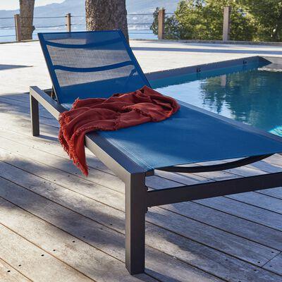 Bain de soleil en aluminium bleu et textilène-NINA