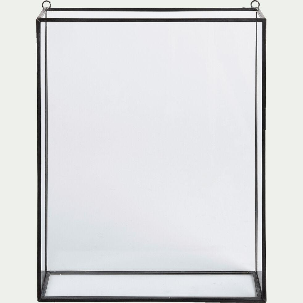Vitrine murale en verre et métal - noir-BUSE