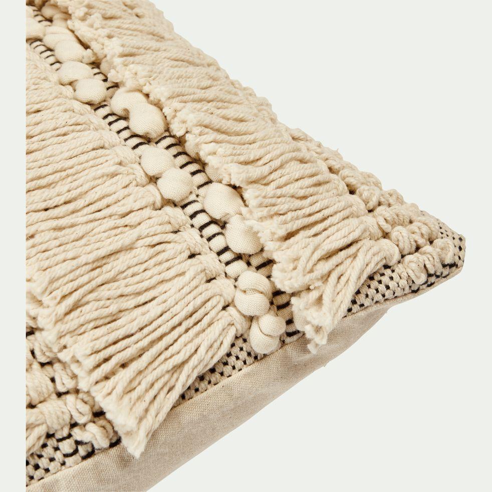 Coussin bohème en coton - noir et blanc 40x60cm-TEYSSIR