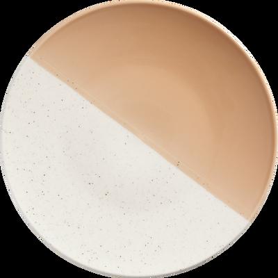 Assiette plate en faïence blanche et pêche D27cm-ECLAT