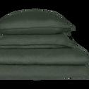 Drap housse en lin Vert cèdre 140x200cm bonnet 28cm-VENCE