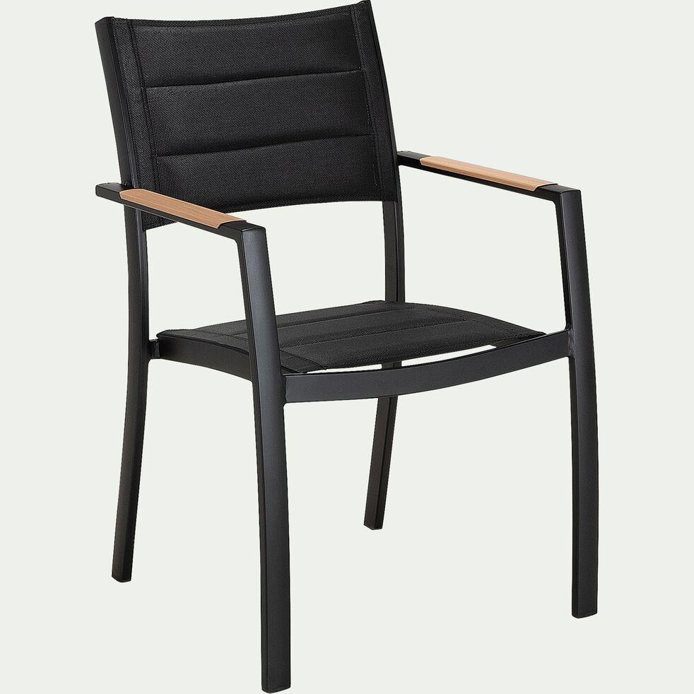 Chaise de jardin en aluminium et textilène avec accoudoirs noir-VERDON