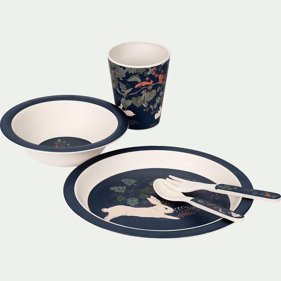 Coffret repas 5 pièces en fibre de bambou motif sous-bois-Gousta
