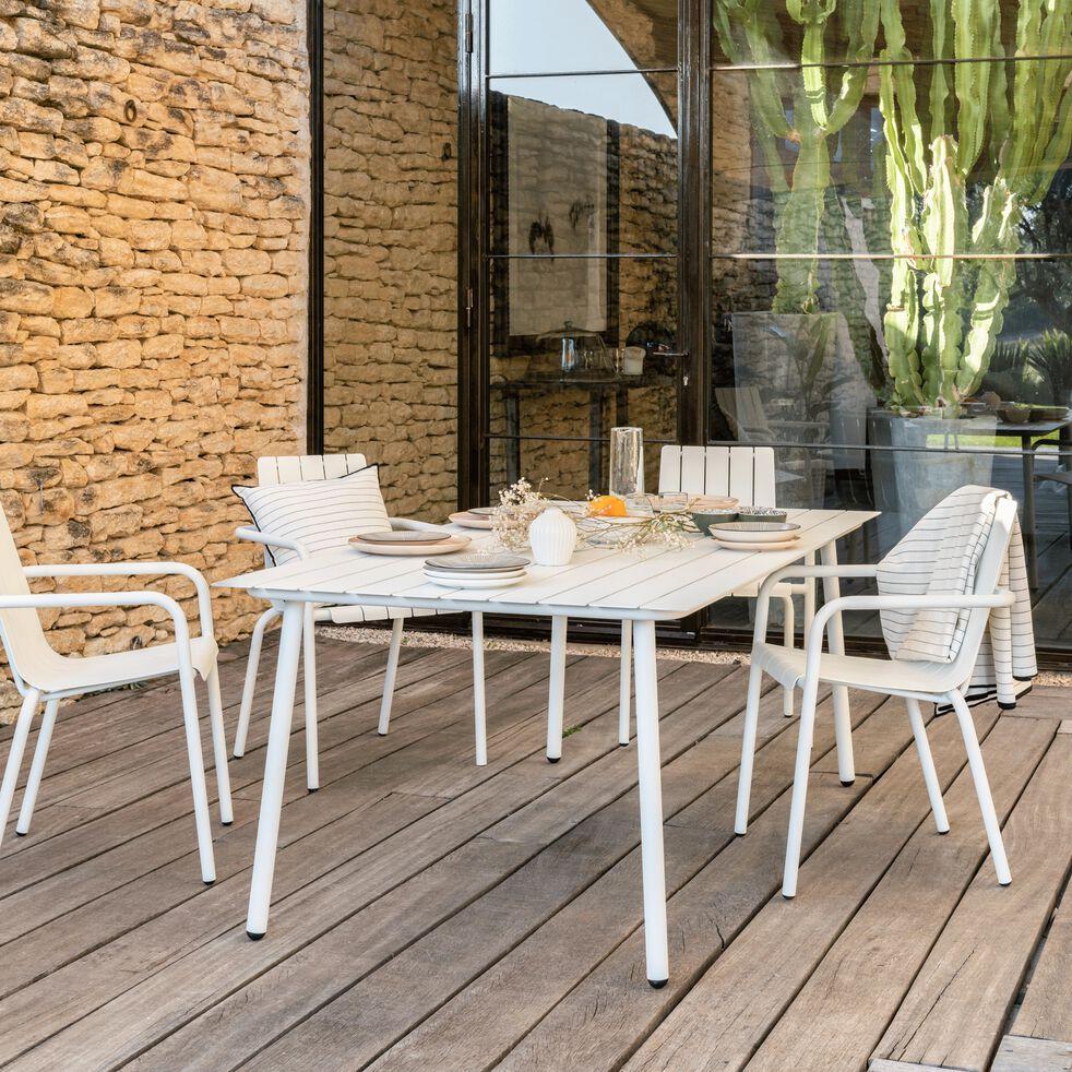 Table de jardin blanc en aluminium (6 places)-CENOZA