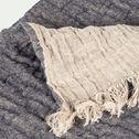 Plaid en lin et laine - bleu marine 105x200cm-MARCEL