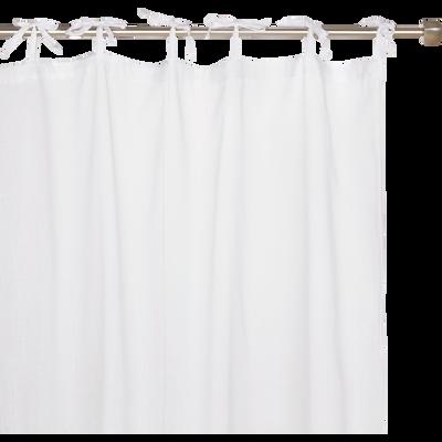 Voilage à nouettes en coton blanc 105x250cm-Lola