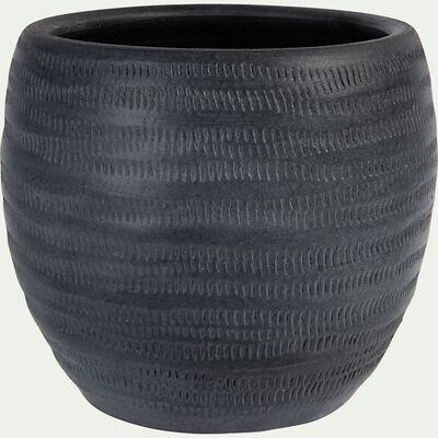 Pot à motif en céramique - gris anthracite D23x20cm-OREZZA