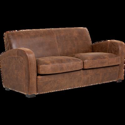 Canapé 3 places fixe en croûte de cuir-Cuba