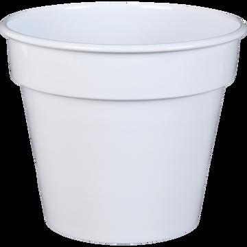Cache-pot blanc en fer H20xD23cm-FLORA