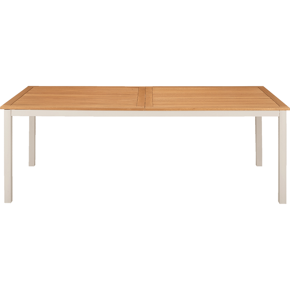 Table de jardin extensible en eucalyptus et aluminium (8 à 12 places)-DOLE