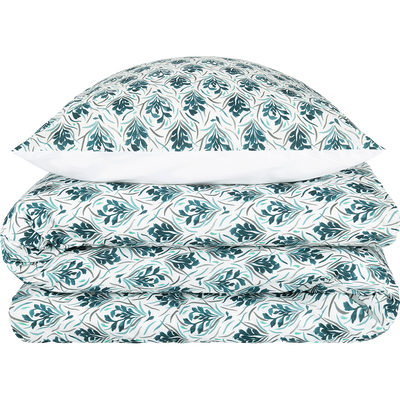 Housse de couette en coton à motifs et 2 taies d'oreillers