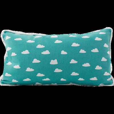 Coussin rectangulaire 45x25cm bleu motifs nuages pour enfant-NUAGE