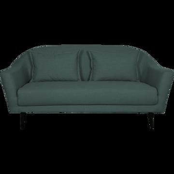 Canapé 3 places fixe en tissu bleu niolon-VENUS