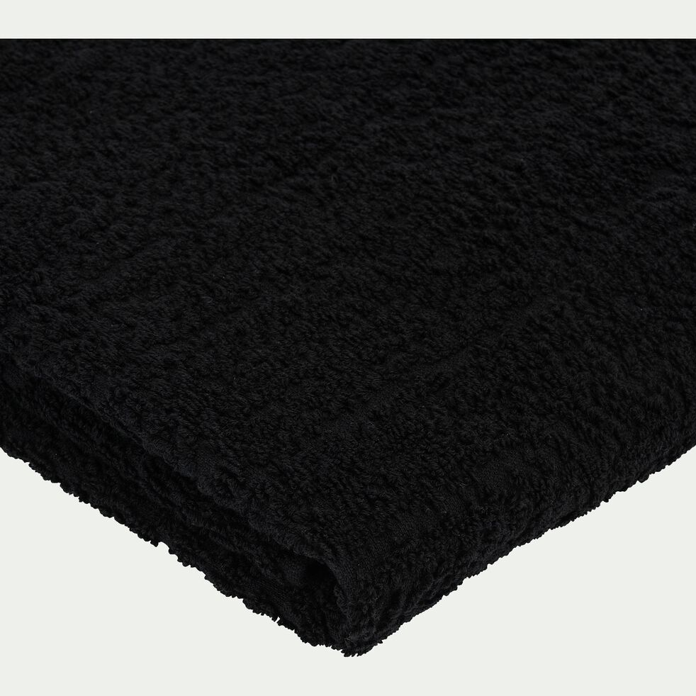Drap de douche bouclette et plat en coton - noir 70x140cm-NIL