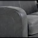 Canapé d'angle réversible en croûte de cuir noir-CUBA