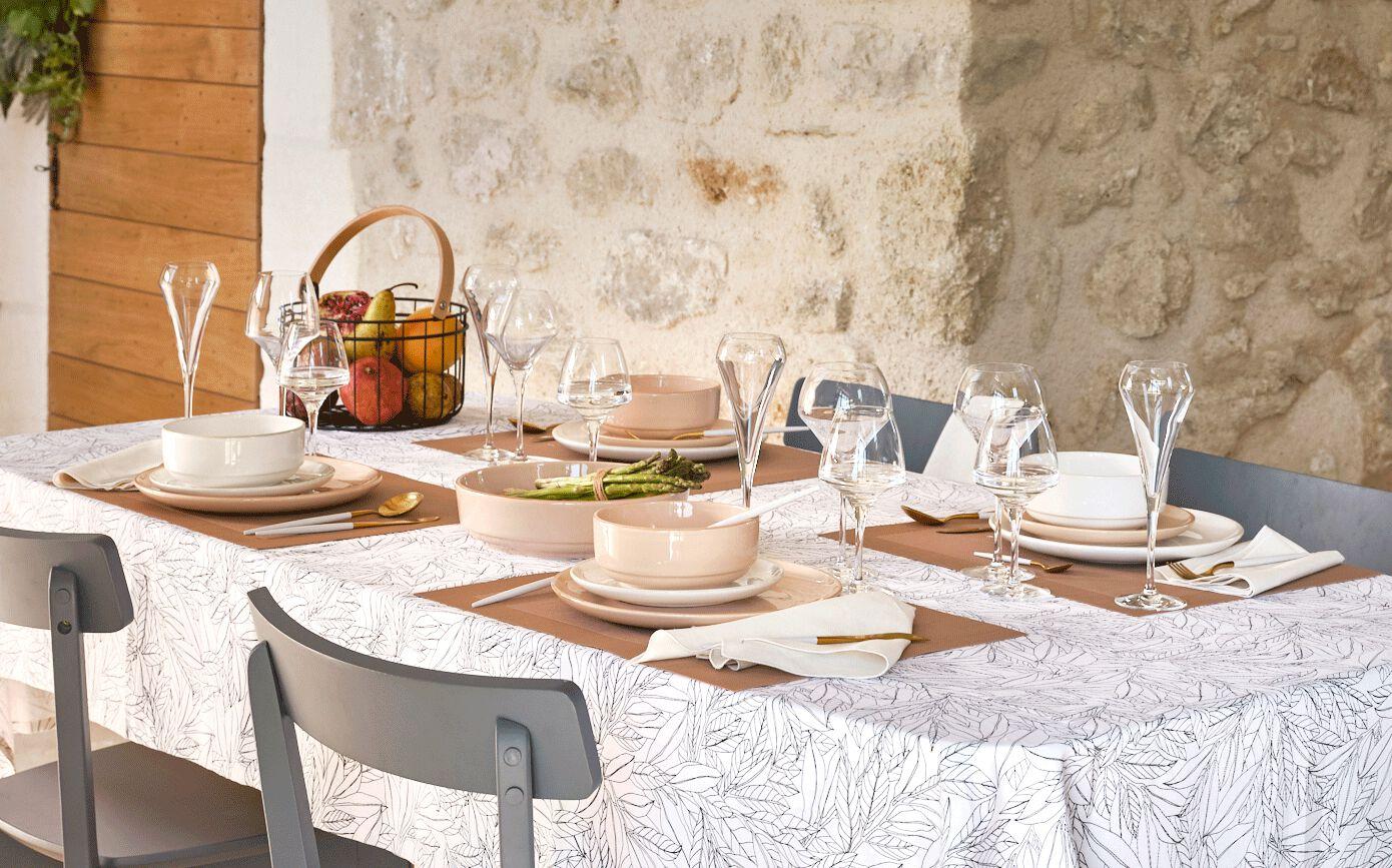 Lot de 2 serviettes de table en lin et coton blanc nougat 41x41cm-MILA
