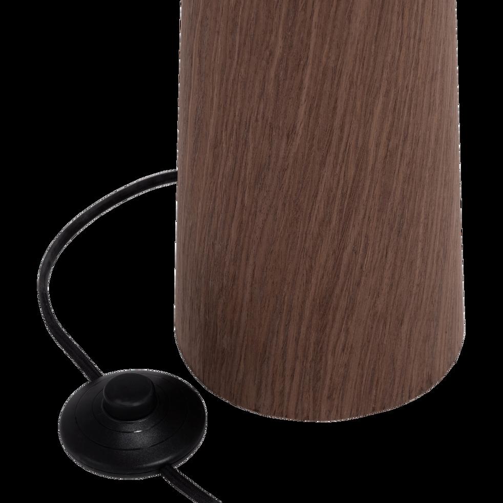 Lampadaire en métal placage bois et abat-jour coton H177cm-CONOS