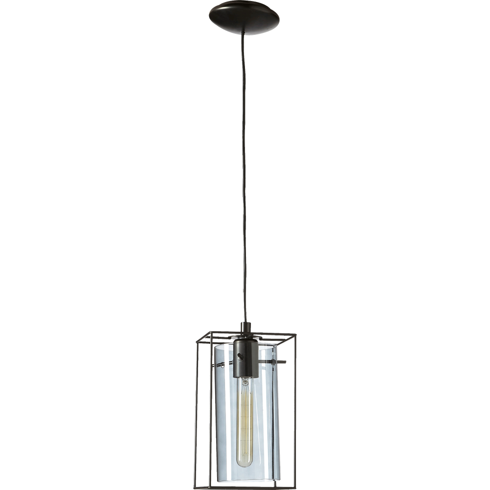 Suspension à 1 lumière en acier noir H110cm-LONCINO