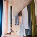 Rideau à oeillets en coton rose argile 140x250cm-CALANQUES